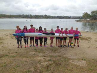 El Club Río Jerte de piragüismo se viste de rosa en el X Duatlón de Tecnificación