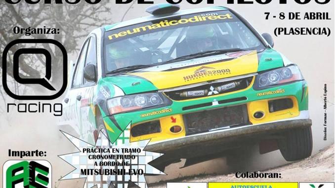 I Curso de Copilotos de Q Racing Extremadura los días 7 y 8 de abril 2018