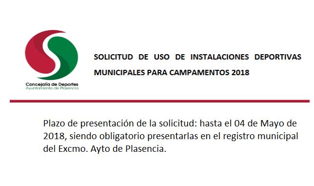 Solicitud de uso de instalaciones deportivas municipales para los campamentos de verano 2018