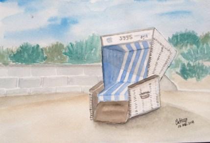 Acuarela -Disfrutando del sol en la Playa de Westerland