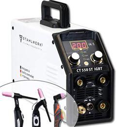 STAHLWERK CT550 ST - kompaktes WIG/MMA Schweißgerät mit Plasmaschneider bis 12mm, 200 Ampere WIG/MMA + 50 Ampere CUT, 7 Jahre Garantie, weiß - 1
