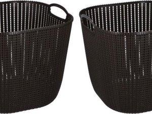 2x Donkerbruine kunststof wasmanden 47 liter - Wasmanden/wasgoedmanden - Huishoudelijke producten/artikelen - Huishouden