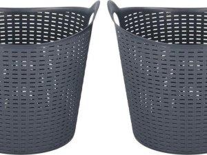 2x Grijze kunststof wasmanden 45 liter - Wasmanden/wasgoedmanden - Huishoudelijke producten/artikelen - Huishouden