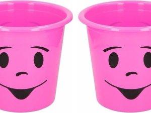 2x Roze prullenbakje met gezichtje 5 liter - Kinderkamer bureau accessoires - Roze afvalbak/papierbak met smiley 5 liter