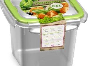 2x Voorraad/vershoudbakjes 0,5 liter transparant/groen plastic/kunststof - Kiev - Luchtdicht/hermetisch afgesloten vershouddoos bakje - Mealprep - Maaltijden bewaren