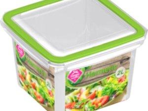 5x Voorraad/vershoudbakjes 2 liter transparant/groen plastic/kunststof - Kiev - Luchtdicht/hermetisch afgesloten vershouddoos bakje - Mealprep - Maaltijden bewaren