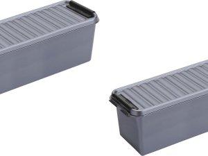 5x stuks sunware Q-Line opbergboxen/opbergdozen 1,3 liter 20 x 15 x 14 cm kunststof - Praktische opslagboxen
