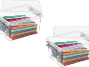 5x stuks sunware Q-Line opbergboxen/opbergdozen 2 liter 20 x 15 x 10 cm kunststof - Praktische opslagboxen
