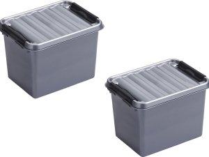 6x stuks sunware Q-Line opbergboxen/opbergdozen 3 liter 20 x 15 x 14 cm kunststof - Praktische opslagboxen - Opbergbakken