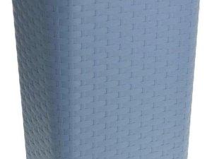 Grijsblauwe kunststof wasmand 60 liter - Wasmanden/wasgoedmanden - Huishoudelijke producten/artikelen - Huishouden