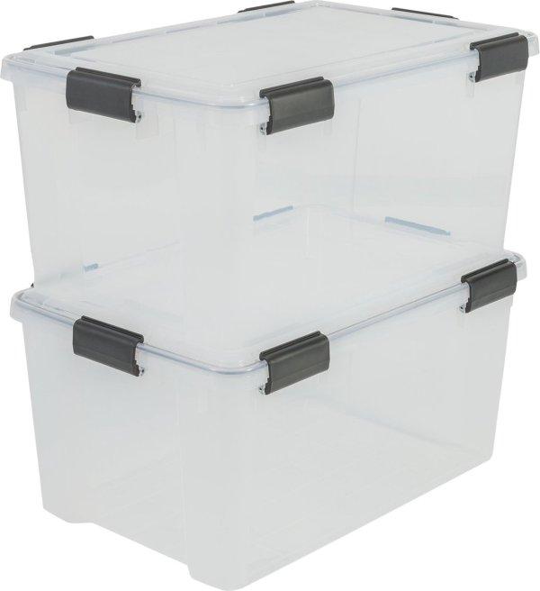 IRIS Airtight Box opbergbox - 50L - 2 stuks - Transparant/Zwart