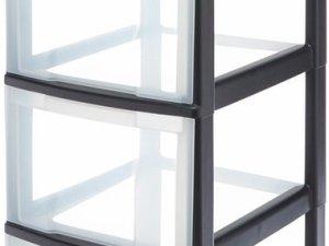 IRIS Ladesysteem met 4 kleine en 4 grote lades - 4 x 7 l en 4 x 16 l - Kunststof - Zwart/transparant
