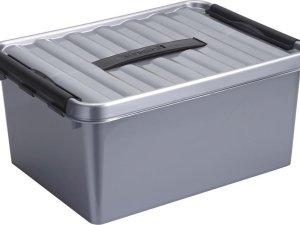 Sunware Q-Line Opbergbox - 15L - Kunststof - Metallic/Zwart