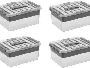 Sunware Q-Line Opbergbox - 4x 15L - Met Tray - Transparant/Metallic