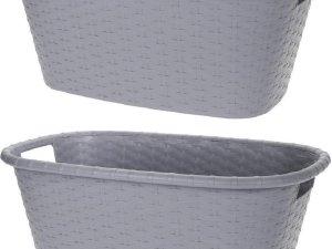 2x Grijze wasmanden 35 liter 60 x 40 x 25 cm - Kunststof/plastic draagmand - De was doen huishoudartikelen - Wasmanden/wasgoedmanden