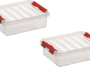 2x stuks sunware Q-Line opbergboxen/opbergdozen 1 liter 20 x 15 x 6 cm kunststof - Platte opslagboxen