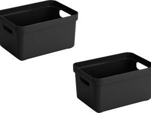 2x stuks zwarte opbergboxen/opbergdozen/opbergmanden kunststof - 13 liter - opbergen manden/dozen/bakken - opbergers
