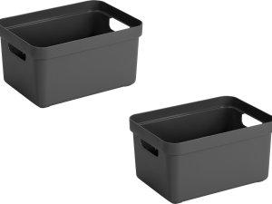 3x stuks antraciet grijze opbergboxen/opbergdozen/opbergmanden kunststof - 13 liter - opbergen manden/dozen/bakken - opbergers