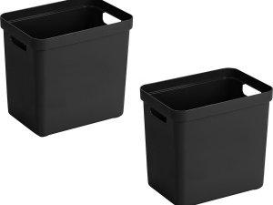 3x stuks zwarte opbergboxen/opbergdozen/opbergmanden kunststof - 24 liter - opbergen manden/dozen/bakken - opbergers