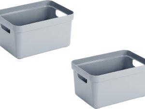 5x stuks blauwgrijze opbergboxen/opbergdozen/opbergmanden kunststof - 13 liter - opbergen manden/dozen/bakken - opbergers