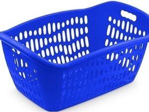 Blauwe wasmand 75 liter 61 x 43 x 28 cm - Kunststof/plastic draagmand - De was doen huishoudartikelen - Wasmanden/wasgoedmanden