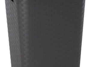 Bruine wasmand met deksel 60 liter 43 x 32 x 61 cm - Kunststof/plastic wasmand - De was doen huishoudartikelen - Wasmanden/wasgoedmanden