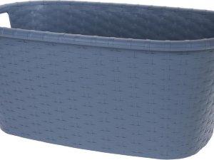 Grijsblauwe wasmand 35 liter 60 x 40 x 25 cm - Kunststof/plastic draagmand - De was doen huishoudartikelen - Wasmanden/wasgoedmanden