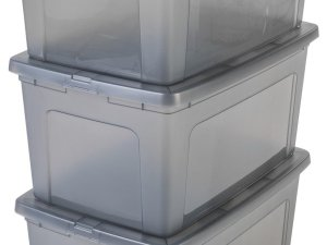 IRIS Modular Clear OpbergBox - 50L - 3 stuks - Grijs