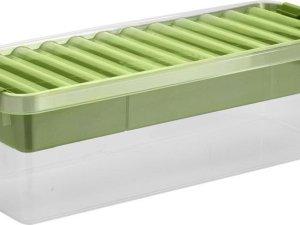 Sunware Q-Line Opbergbox - 9,5L - Met Tray - Transparant/Groen