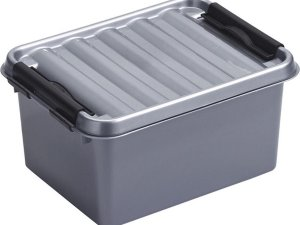 Sunware Q-Line opbergboxen/opbergdozen 2 liter 20 x 15 x 10 cm kunststof - Praktische opslagboxen - Opbergbakken kunststof metallic/zwart
