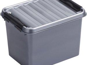 Sunware Q-Line opbergboxen/opbergdozen 3 liter 20 x 15 x 14 cm kunststof - Praktische opslagboxen - Opbergbakken kunststof metallic/zwart