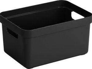 Zwarte opbergboxen/opbergdozen/opbergmanden kunststof - 13 liter - opbergen manden/dozen/bakken - opbergers