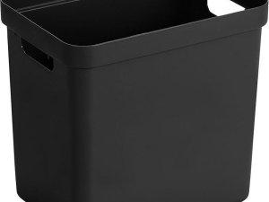 Zwarte opbergboxen/opbergdozen/opbergmanden kunststof - 24 liter - opbergen manden/dozen/bakken - opbergers