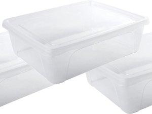 3x Voorraad/vershoudbakjes laag 2,5 liter transparant plastic/kunststof - 24 x 20 x 8 cm - Vienna - Vershouddoos bakjes - Mealprep - Maaltijden bewaren