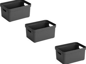 3x stuks antraciet grijze opbergboxen/opbergdozen/opbergmanden kunststof - 5 liter - opbergen manden/dozen/bakken - opbergers