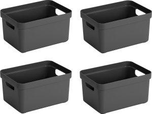 4x stuks antraciet grijze opbergboxen/opbergdozen/opbergmanden kunststof - 5 liter - opbergen manden/dozen/bakken - opbergers