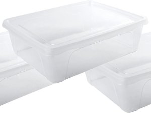 5x Voorraad/vershoudbakjes laag 2,5 liter transparant plastic/kunststof - 24 x 20 x 8 cm - Vienna - Vershouddoos bakjes - Mealprep - Maaltijden bewaren