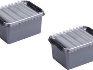 8x stuks sunware Q-Line opbergboxen/opbergdozen 2 liter 20 x 15 x 10 cm kunststof - Praktische opslagboxen - Opbergbakken