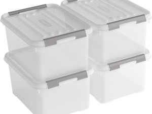 Curver Handy+ opbergbox - 15L - 4 stuks - transparant