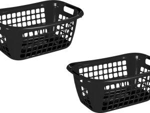 2x stuks zwarte wasmanden/wasgoedmanden met handgrepen 65 cm - Draagwasmanden - Wasgoedmand - Mand met handgrepen