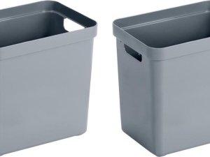 3x Blauwgrijze opbergboxen/opbergdozen/opbergmanden kunststof - 25 liter - opbergen manden/dozen/bakken - opbergers