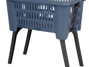 Donkerblauwe wasmanden op poten 38 liter 60 x 40 x 29 cm - Kunststof/plastic draagmand - De was doen huishoudartikelen - Staande wasmanden/wasgoedmanden