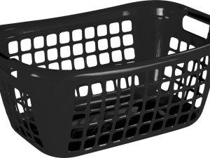 Zwarte wasmanden/wasgoedmanden met handgrepen 65 cm - Draagwasmanden - Wasgoedmand - Mand met handgrepen