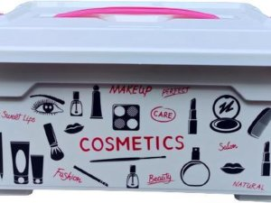 cosmetica opbergbox met deksel en handvat / make up organiser / opbergdoos / ca 26 x 18.5 x 36 cm