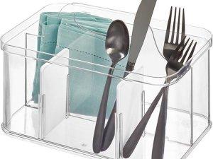 Opbergbox met handvat iDesign - Crisp | 4 sorteervakken