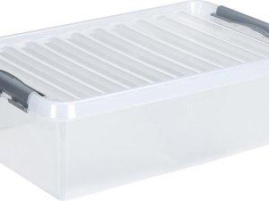 Q-line opbergbox 32L - transparant/grijs