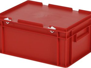 Stapelbak met deksel - Opbergbox - 400x300xH190mm - rood