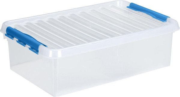 Sunware Q-line opbergbox 32L - Transparant/blauw