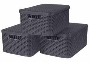 Curver Opbergboxen Met Deksel Style 3 St Maat M Antraciet