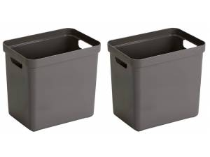 2x Taupe Bruine Opbergboxen/opbergdozen/opbergmanden Kunststof - 25 Liter - Opbergen Manden/dozen/bakken - Opbergers